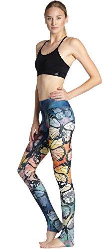 HYHAN Transpirables y de Secado rápido Delgado Cadera y Coloridos Mariposa Movimiento Yoga Pantalones de Las señoras, yoga-0017, l