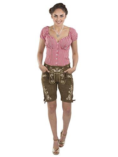 Damen Wiesnzauber Lederhose braun mittellange Trachtenlederhosen Oktoberfest Trachtenhose (44, Dunkelbraun) - 4