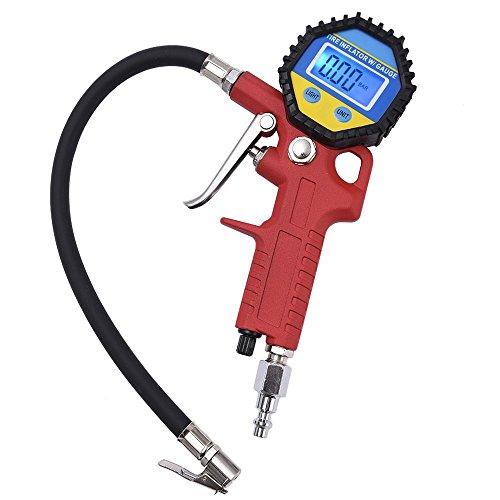 MICTUNING Digital eléctrico inflador de neumáticos con manguera y manómetro para compresor de aire Para el automóvil y la motocicleta de alta precisión y Heavy Duty calibrador de presión de neumáticos