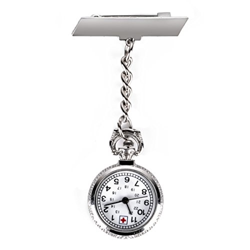 ShopyStore Fashion Medical Silver Metal Shellhard Chain Nurse Doctor Wacth Clip On Nursing Pendant Q