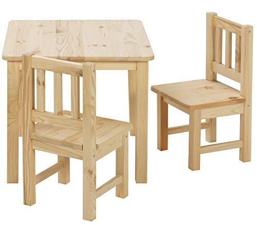 ♥ BOMI Stabile Kindermöbel: Tisch mit Stühle Amy aus Kiefer Massiv Holz | unbehandelt und unlackiert | naturbelassene Sitzmöbel für Kinder | kleinkinder tisch mit stuhl