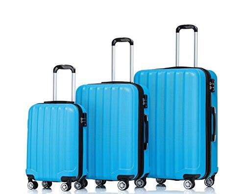 TSA-Schloß 2080 Hangepäck Zwillingsrollen neu Reisekoffer Koffer Trolley Hartschale XL-L-M(Boardcase) in 12 Farben (Türkis, Set)
