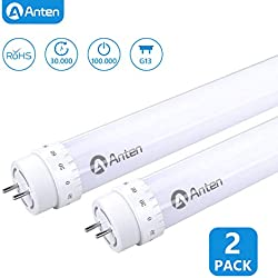 2 X Anten 60cm 10W T8 LED Tubo Fluorescente, Tubo LED 2ft Con El Enchufe G13 Blanco 1000LM Reemplaza 20W Tubo Tradicional