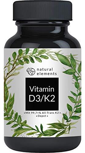 Vitamin D3 + K2 Depot - 180 Tabletten - Premium: 99,7+{c59471349171ad674c081483a017b4b12257cda4ac513298315d79abd5629d56} All Trans MK7 (K2VITAL® von Kappa) + 5.000 IE Vitamin D3 - Hochdosiert und hergestellt in Deutschland