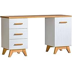Schreibtisch Panduros 12, Farbe: Kiefer Weiß / Eiche Braun - Abmessungen: 79 x 140 x 52 cm (H x B x T)