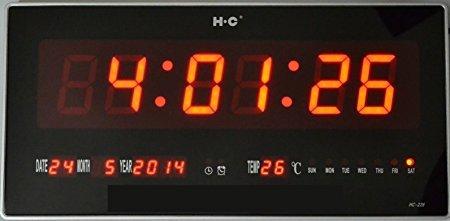 OROLOGIO DIGITALE A LED CON DATARIO TEMPERATURA DA PARETE PER BAR CHIOSCO GELATERIE: MISURE 47 x 22 x 3 CM