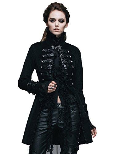 Devil Fashion Punk cotone gotico delle donne del collare del basamento del rivestimento a maniche lunghe Slim-tipo cappotto di trincea lungo, 7 formati (S)