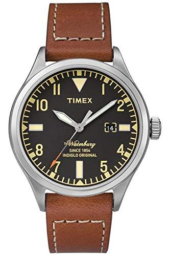 Timex Herren Analog Quarz Uhr mit Leder Armband TW2P84000