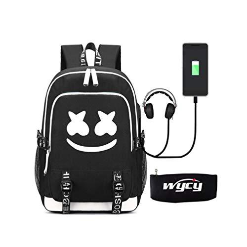 WYCY Zaino luminoso Marshmello Cartella Grande volume 36L con porta di ricarica USB e linea audio...