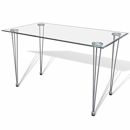 vidaXL Tavolo da Pranzo Soggiorno Sala Cucina Piano Superiore Vetro Trasparente