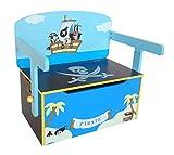 Kiddi Style Caja Almacenaje Juguetes + Banco y Mesa + Silla - Diseño Piratas - Convertible - Madera - par ninos