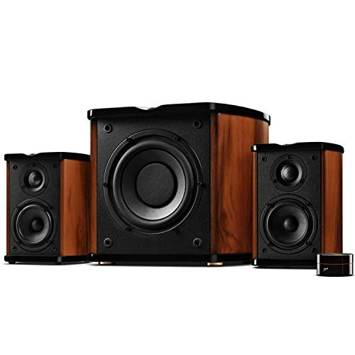 SWANS Diffusori da Scaffale Subwoofer - M50W 2.1 Dolby Suono Surround - 6,5' Subwoofer(78W RMS),38-20000Hz,Home Theatre,Color Noce Cover Marrone