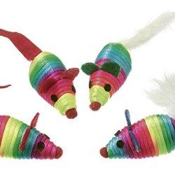 katzeninfo24.de Karlie Nylon Rainbow Katzen-Spielmäuse mit Catnip, 4 Stück, 5 cm