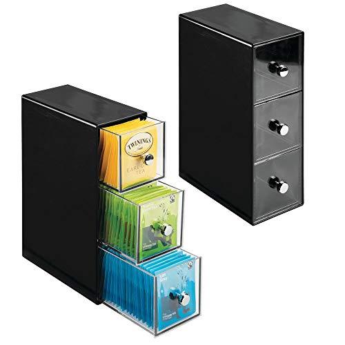 mDesign Set da 2 Pratico Porta bustine da Te a 3 cassetti - Mobiletto Cucina con cassetti, per...