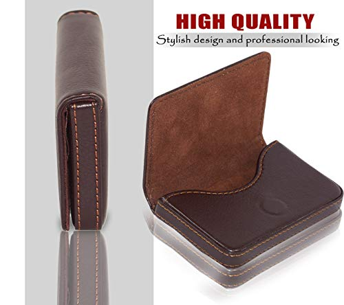 Storite Pocket Sized Stitched Leather Credit Debit Visiting Card Holder (Coffee Brown) 8