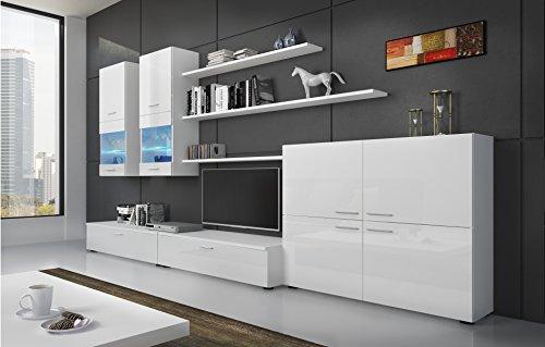 Home Innovation- Mobile soggiorno - Parete da Sogiorno con illuminazione LED, Bianco Laccato e...