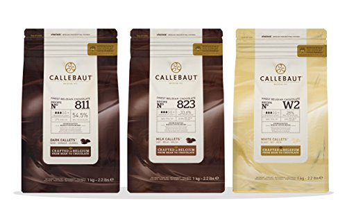 Callebaut 3 x 1kg Bundle - Chocolat de Couverture au Lait, Noir & Blanc Belge - Finest Belgian Chocolate (Callets) Lot de 3 x 1kg 22