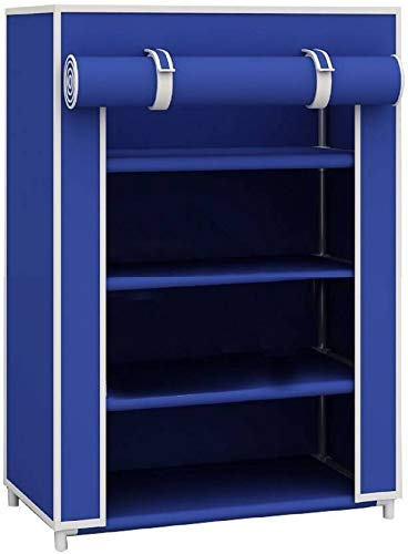 Frazzer Smart & Stylish Multipurpose Metal Collapsible Shoe Stand (Blue, 4 Shelves)