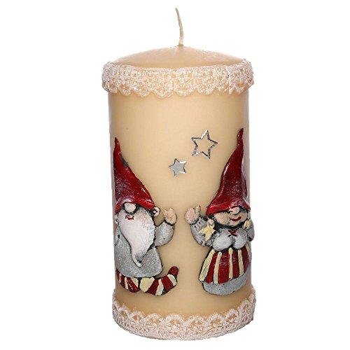 tradingbay24 Stumpenkerze Weihnachten Weihnachtswichtel Handarbeit Ø 7 cm, 14 cm Dekokerzen Kerzen Adventskerzen Weihnachtskerzen Stumpenkerzen hochwertig Handmade handgefertigt (Elfenbein)
