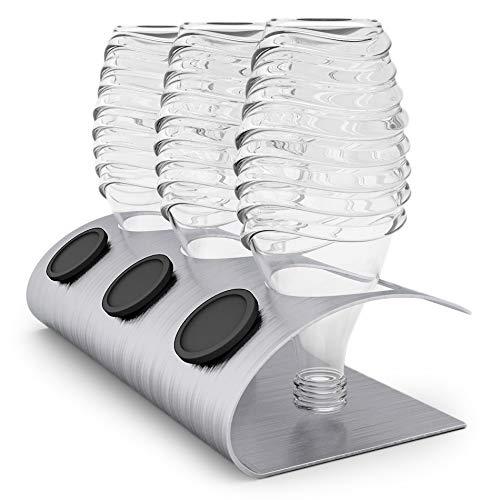 nobellgo Abtropfhalter Für z.B. Sodastream Crystal Glaskaraffen Flaschen, Zubehör, aus Edelstahl inklusive Deckelhalterung, Flaschenhalter, Platz Für 3 Flaschen und 3 Deckel