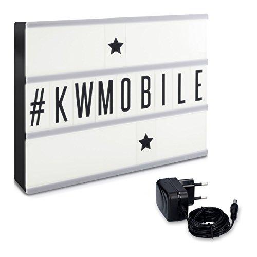kwmobile Lightbox Cinema Insegna Luminosa - Lampada decorativa LED box Nero formato A4 210 Lettere...