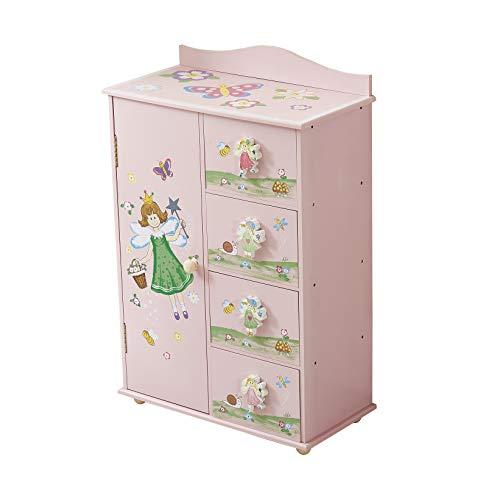 WODENY - Armadio per Camera da Letto dei Bambini, 4 unità con Fate, Fiori, Farfalle, api e Dipinti...