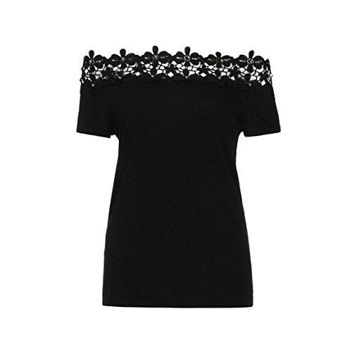 Moonuy Kurzarm-T-Shirt der Frauen 2018 Art- und Weisespitze weg von der Schulter-Spitze aushöhlen tägliches beiläufiges Hemd O-Ansatz dünne Spitzenbluse in der Förderung (EU 36/Asien M, Schwarz) - 3