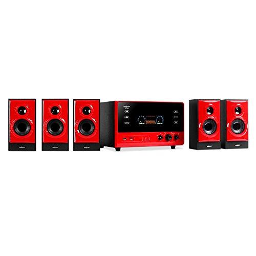 oneConcept V51 • Surround Sound System 5.1 • home theatre • RMS 70 Watt • activ subwoofer • woofer 4' (10 cm) • bass reflex • 5 casse satelliti • USB • SD • AUX • radio VHF • display VFD • nero