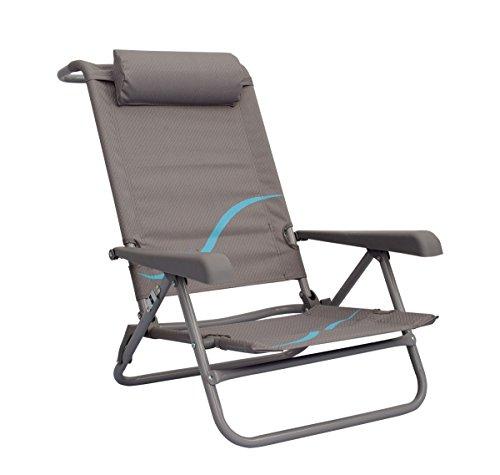 Meerweh Erwachsene Strandstuhl mit Verstellbarer Rückenlehne und Kopfpolster Klappstuhl Anglerstuhl Campingstuhl grau/Blau, XXL