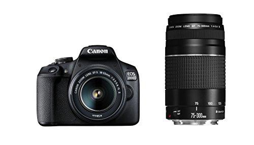 Canon EOS 2000d fotocamera reflex con obiettivo EF-S 18-55is II + 75-300DC Kit