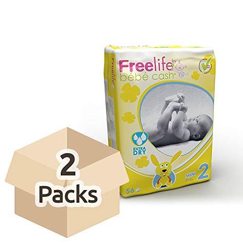 Freelife Pañal Bebé Cash 2 Mini 3-6 Kg 56 Unidades - Para bebés de 3 a 6 kg, Extra Seco