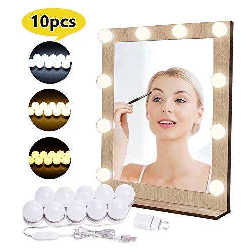 Luci di Specchio per Trucco, Kit per Il Trucco a Specchio a LED con 10 Pezzi di Lampadine e Porta...