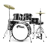 Tiger JDS14-BK Kids/Junior Drum Kit, Black, Ages 3-10 Years, 5-Piece