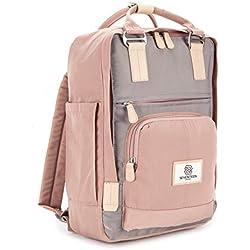 SEVENTEEN LONDON - Moderner, einfacher und Unisex 'Hackney' Rucksack in rosa und grau mit einem klassischen Design im Skandi-Stil - perfekt für 13-Zoll-Laptops