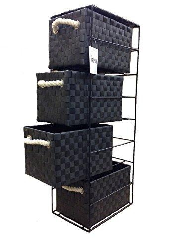 Arpan, Schubladengestell, mit 4 oder 2Schubladen, Schwarz, Schwarz , 4-Drawer 18x25x65cm