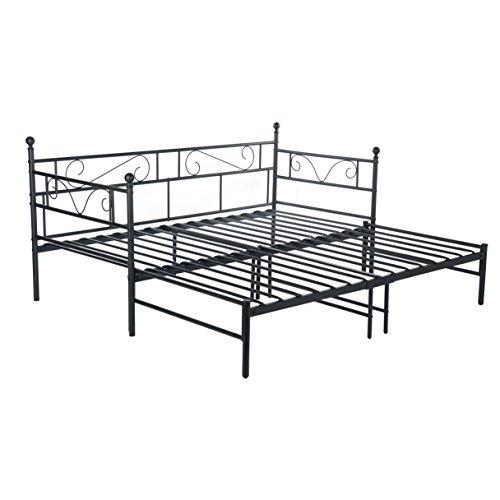 EGGREE Tagesbett Versailles Weiß Metall Single Sofa Optionen für Ausziehbett, Tagesbett mit Unterbett Trundle,Schwarz