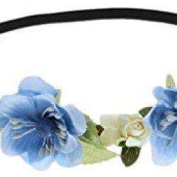 floristikvergleich.de EOZY Damen Mädchen Blumenkranz Blumenkrone Blumenstirnband Haarschmuck (Blau)