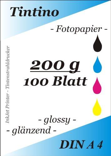 Tintino Fotopapier / 100 Blatt - 200g/qm DIN A4 -glossy glaenzend - sofort trocken - wasserfest - sehr hohe Farbbrillianz fuer InkJet Drucker Tintenstrahldrucker -hochweiß