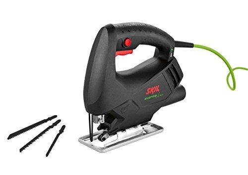 Skil 4285AA Energy Line - Sierra de calar (ligero: 1,4 kg, largo cable de 6 metros, conexión para aspirador integrada, soplador, 3 hojas de sierra)