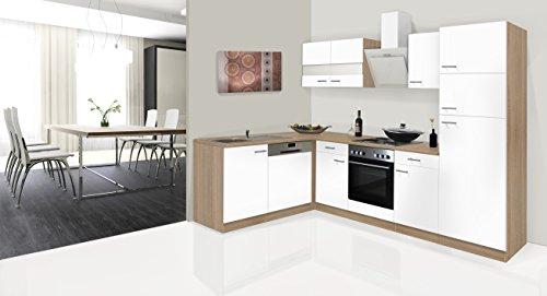 respekta Economy L a Forma di Angolo Cucina Cucina Riga Rovere Bianco 280x 172cm con Designer...