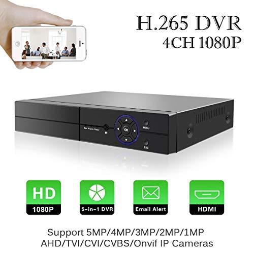 Aottom H.265 4 Canali 1080P CCTV Videoregistratore 5 in 1 AHD/TVI/CVI/960H DVR HVR Onvif NVR,con uscita HDMI, VGA, P2P Cloud, accesso remoto a smartphone, rilevamento di moviment senza HDD
