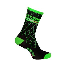 Calze Calzini Ciclismo PROLINE Team Verde Fluo Cycling Socks 1 Paio One Size New Line