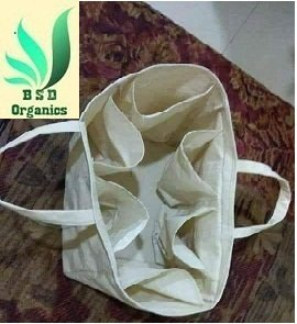 BSD Organics Eco Lite Cotton Bag with Pockets for Grocery (Off-white)