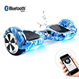BEBK Hoverboard, 6.5 Zoll Self Balancing Scooter mit Bluetooth Lautsprecher - Tragetasche - LED Lights Elektro Scooter (Army)