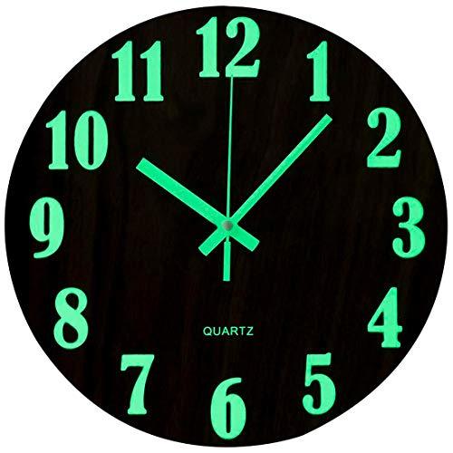 Topkey Orologio da Parete da 30,5 cm, Luminoso, Silenzioso, in Legno, con luci notturne, Rotondo, per Soggiorno e Camera da Letto (Batteria Non Inclusa) - Marrone