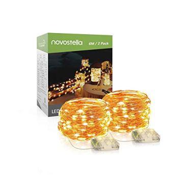 Novostella 6M 60 LED Lot de 2 Guirlandes LED Lumineuses à Pile, 8 Modes, IP65 Etanche, Cuivre Flexible, Décoration Extérieur pour Fête Noël Sapin Mariage Table Jardin, Blanc Chaud