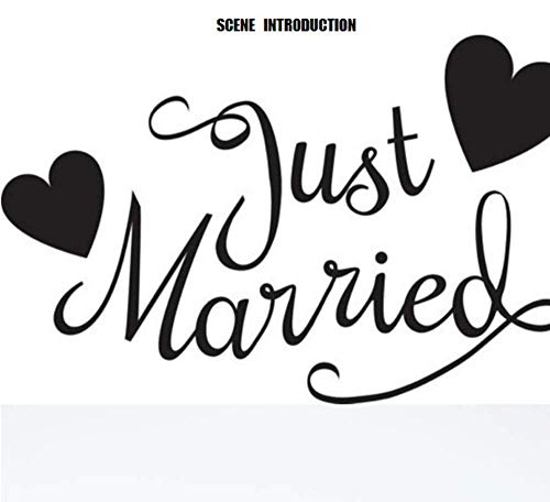 GWFVA Just Married with Hearts Adesivo per Auto Adesivo per Parete Adesivi per Camera da Letto...