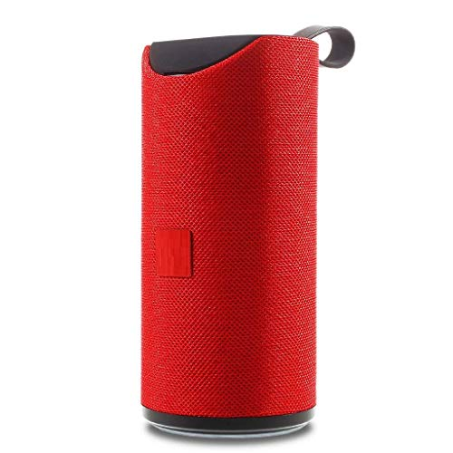 TIRUMI Bluetooth Wireless Portable Cylinder Shaped Speaker for All Android Devices (Red)