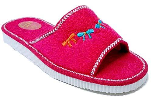 Sandalo Donna Ciabatte Mare Piscina Spa Spugna 100% Art. Ischia (38 EU, Rosso)