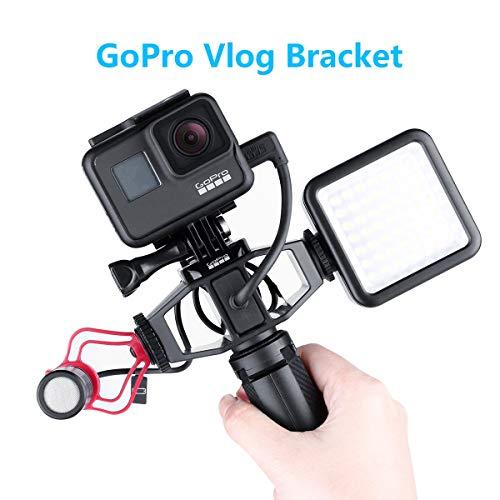 VIJIM Vlogging Setup Bracket per GoPro Hero 7 6 5 Sjcam EKEN Sport Telecamere gopro vlog Gabbia con 2 Cold Shoe Mount 1/4'Treppiede per Microfono per Luce